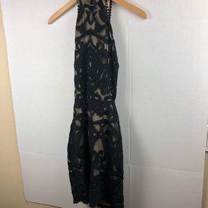 Fashion Nova Dresses - Fashion Nova Lace black beige Dress scrappy back